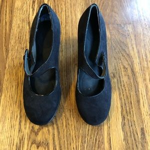 Aerosoles Black Suede Mary Jane Heels
